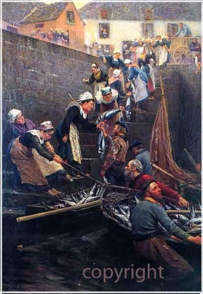 Débarquement du thon, 1902 - Alfred Guillou, 1844-1926