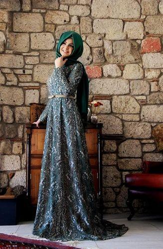 Pınar Şems - Esra Dantel Abiye Haki