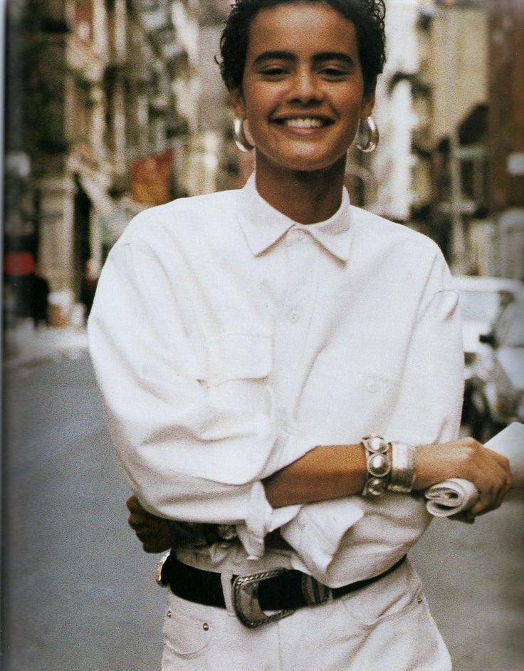 """US Elle April 1990 / """"Ralph in Gear""""  Nadege du Bospertus by Pamela Hanson / Stylist: Brana Wolf"""