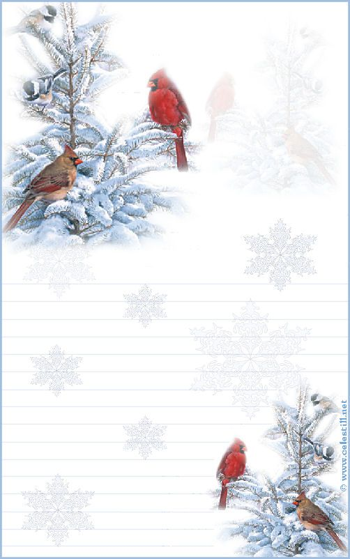 Papier à lettre à imprimer Scène Hiver Cardinal Rouge