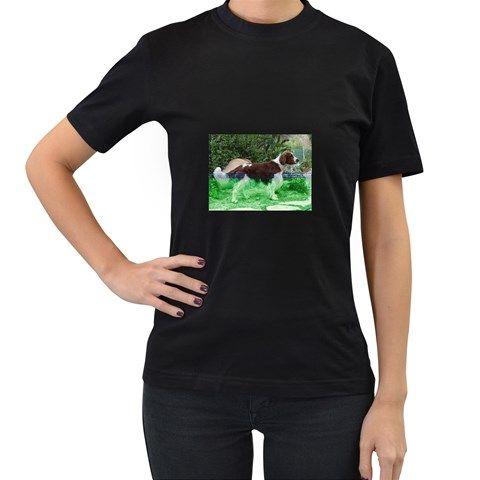 Welsh+Springer+Spaniel+Full+Women's+T-Shirt+(Black)