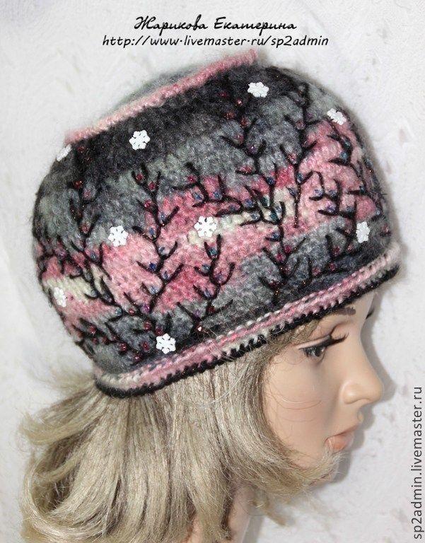 Купить шапка женская вязаная СНЕГОПАД НА ЗАРЕ - шапка, снежинки, зима, теплая, женская