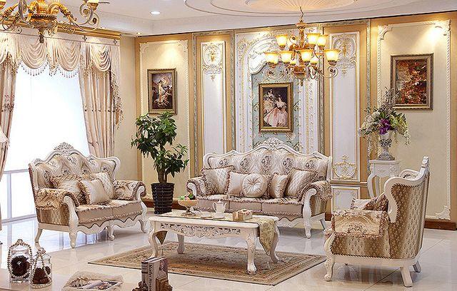 Guangzhou China moderna Sala de estar Muebles Sofá De Lujo Italiano Clásico Sofá De Madera Maciza Conjuntos