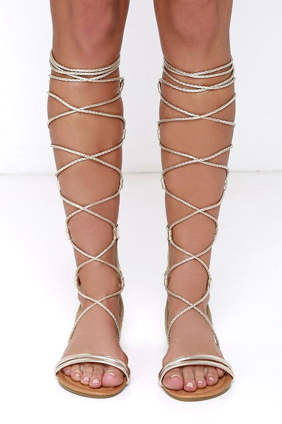 Gilded Gal Gold Tall Gladiator Sandals at Lulus.com!
