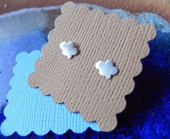 Si minuscules nuage boucles doreilles en argent sterling