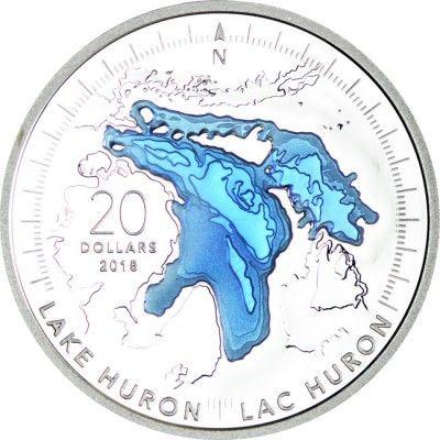 20 Dollar Silber Die Großen Seen - Huronsee PP