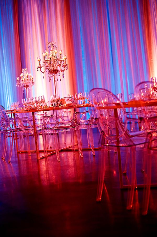 Pink, purple and red ghost chair wedding decor - California Weddings: http://www.FresnoWeddings.Net/