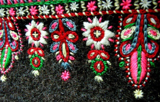 Scandinavian folk embroidery on wool