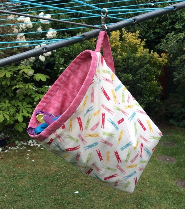 Clothes peg bag, clothes pin bag, hanging, free standing, peg fabric £10.00