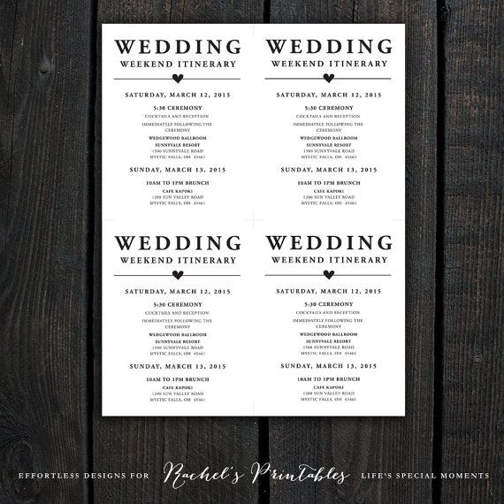 Wedding Welcome Note Itinerary Double Sided by RachelsPrintables