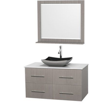 wyndham collection centra 42 inch single bathroom vanity in gray oak white manmade