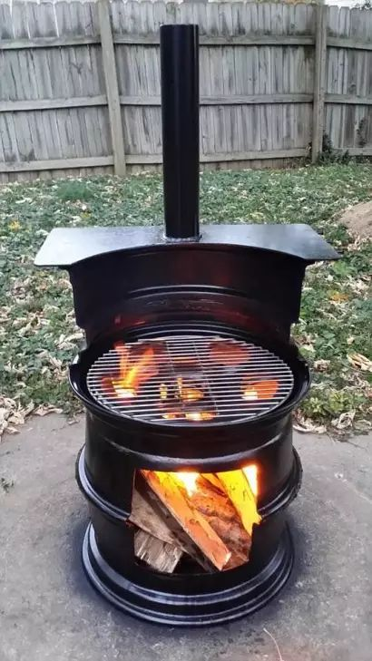 Barrel repurposed into fire pit