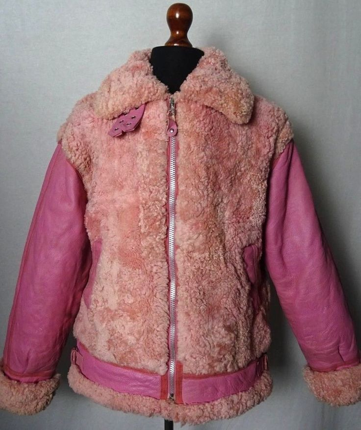 Womens Vintage Pink Sheepskin Shearling B3 Bomber Jacket Coat Size 20 KB123