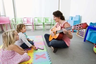 Preschool theory: Play musical chairs--children clap to the rhythm as they walk around: add hopping for low notes and skipping for high notes; they sit down on the rest.
