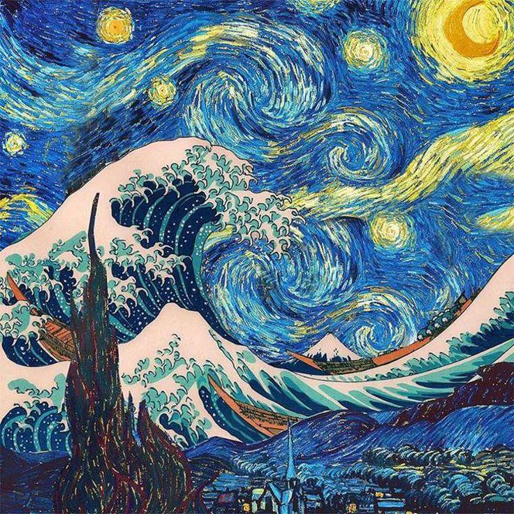 """Et si Hokusai et Van Gogh avaient travaillé ensemble... / A partir de """"La vague de Kanawaga"""" de Hokusai et de """"La nuit étoilée"""" de Van Gogh. / Objets imaginaires. / By Dan Cretu."""