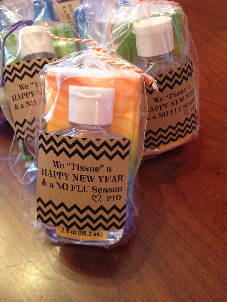 """Welcome back teachers and staff with tissue and sanitizer for a """"no flu"""" season!"""