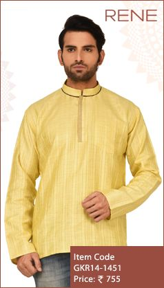 #Exclusive #EthnicWear #Design #Traditional #Trendy #Kurta #Men #yellow #Ootd #Outfit #Fashion #Style #ReneIndia #Brand available on #Flipkart #Snapdeal #paytm