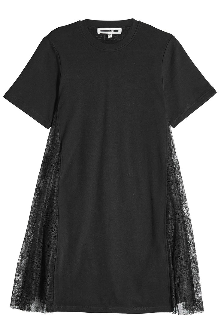 McQ Alexander McQueen - Cotton T-Shirt Dress with Lace Inserts