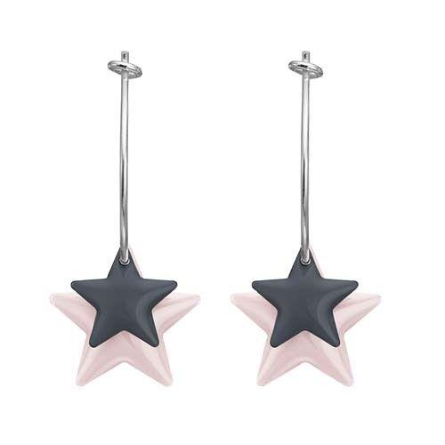Enamel Stjerne øreringe i rosa og grå.