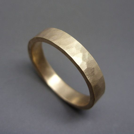 Hammered Matching Wedding Band Set in Solid 14k Yellow Gold - 1.6mm Round and 4mm Flat Bands