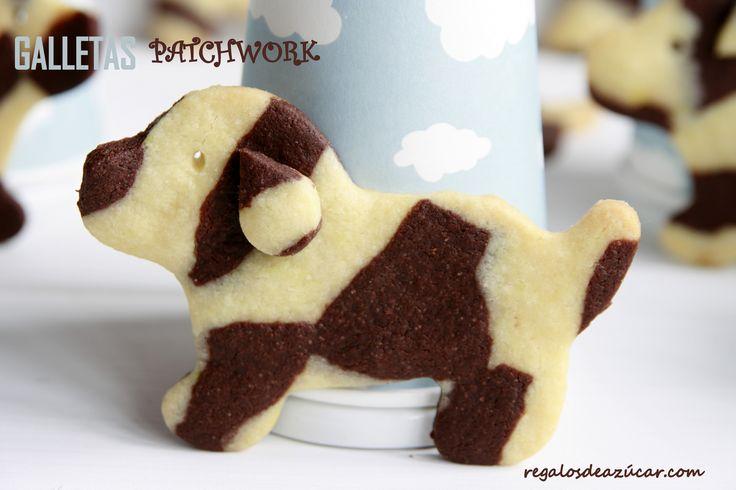Galletas patchwork (tutorial)  Patchwork cookies (DIY)  http://regalosdeazucar.blogspot.com.es/2014/10/galletas-patchwork-de-perritos-diy.html