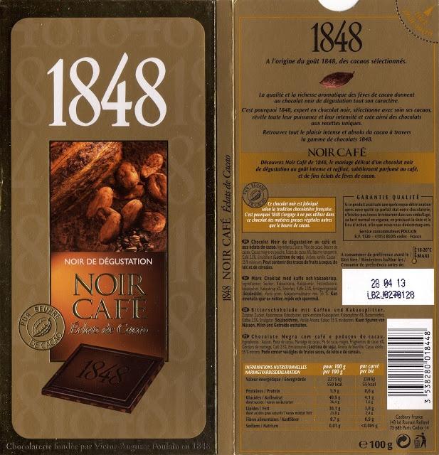 tablette de chocolat noir gourmand poulain 1848 noir café
