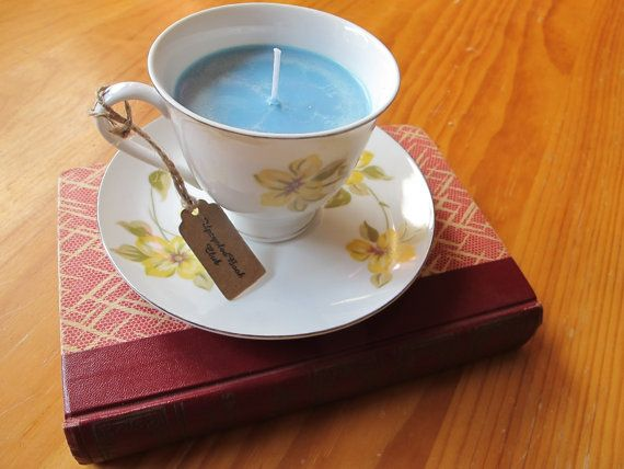 Vanilla scented candle Upcycled teacup by UpcycledBookClub on Etsy
