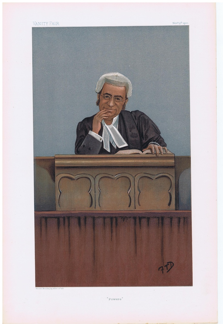 Date: 15-Nov-1900 The Vanity Fair Caricature of Mr. Justice Farwell With the caption of : Powers By the artist: FTD Visit www.theakston-thomas.co.uk for many more Vanity Fair Prints, we have one of the largest collections in the world.