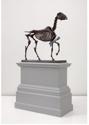 Hans Haacke, Gift Horse, Model for Fourth Plinth, Trafalgar Square, London, 2013; bronze and electroluminescent film; sculpture: 18 1/8 x 16 x 6 1/4 in. (46 x 40.6 x 15.9 cm) plinth: 13 x 8 1/2 x 18 in. (33 x 21.6 x 45.7 cm) (as seen at Paula Cooper on November 15, 2014)