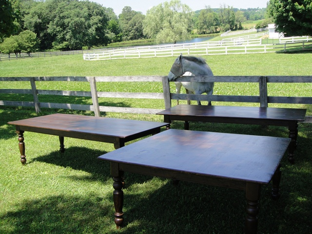 Rent Benches For Wedding Part - 50: Two Of Our 8 Foot Long And One 5 Foot Square Farmhouse Tables Available For  Rent