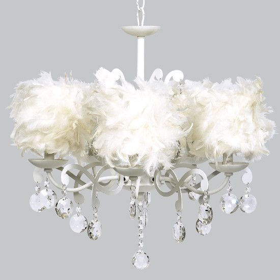 White 5 Light Elegance Chandelier with White Feather Dum Shades