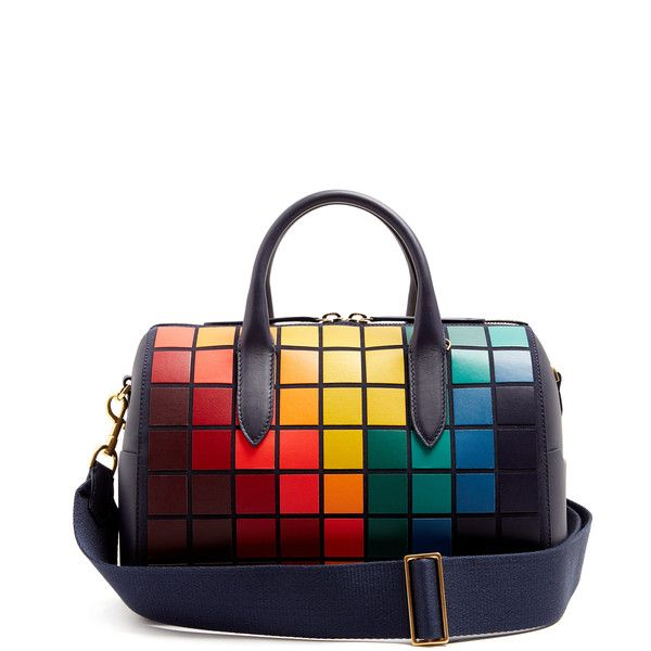 Anya Hindmarch Vere Barrel Pixels suede and leather bag (£1,695) ❤ liked on Polyvore featuring bags, handbags, navy multi, navy leather purse, leather barrel bag, navy blue leather handbags, navy blue leather purse and genuine leather handbags