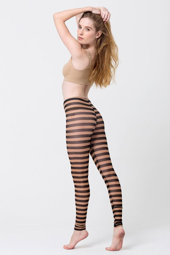 Brown stripes sheer tights see through leggings by GenuinePeople ...