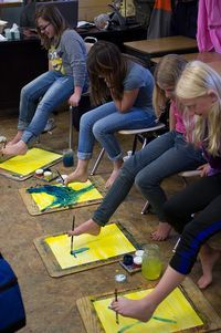 5th Grade: Painting; Painting with your feet; Heracles and The Stymphalian Birds