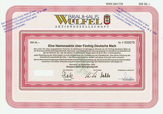 Brauhaus Wülfel AG / Hannover, September 1992, Namensaktie über 50 DM, später auf 10 DM umgestempelt