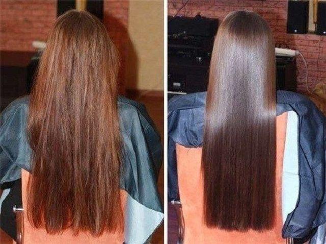 Tratar el cabello dos veces a la semana durante cuatro semanas y los resultados después de un solo tratamiento que te hará feliz que lo intentaste. Aunque a la mitad del mes notarás tu cabello más suave y más fuerte, el cuero cabelludo será más sano, y verás mejoras en la suavidad y el brillo. Ingredientes: 1 cucharadita de vinagre 1 cucharadita de glicerina 1 huevo (batido) 2 cucharadas de aceite de ricino un gorro de ducha o una envoltura de plástico