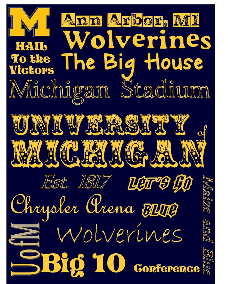 University of Michigan subway print, free