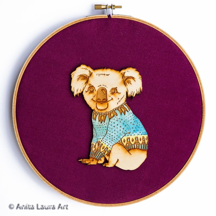 Koala in Scandi Sweater - hand drawn and painted laser cut wood