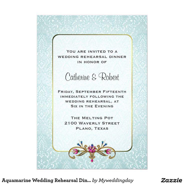 Pre Wedding Dinner Invitation: Aquamarine Wedding Rehearsal Dinner Invitation