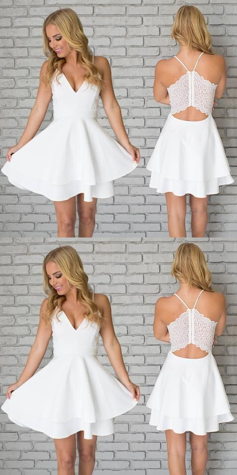 a line v neck simple white dress