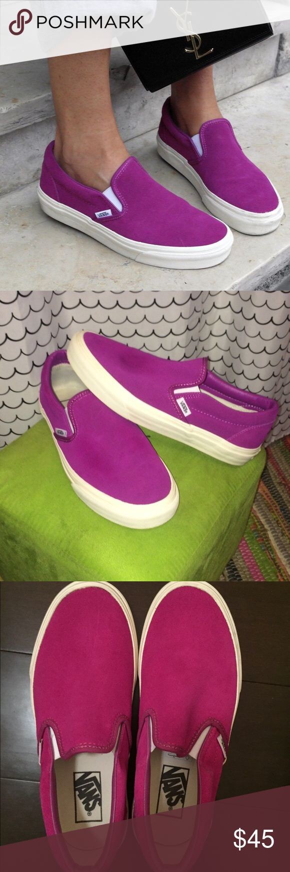 Unique Bright Suede Fuchsia/ Magenta Vans Slip Ons Rare, unique. Suede Slip on Vans. Like new-no stains or wear on them. Incredibly comfortable. So cute just not my size. ❤️ Women's US size: 7 / Men's US size: 5.5 Vans Shoes Sneakers