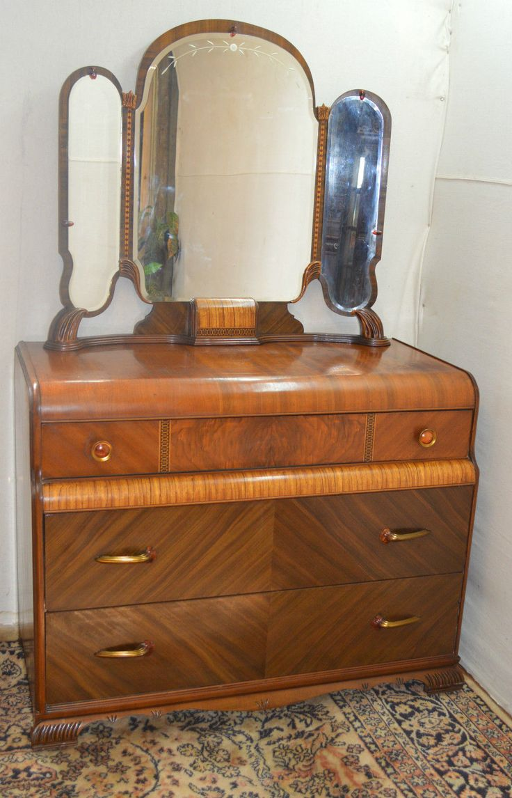 Art Deco Waterfall Style Dresser Vanity With Mirror Part