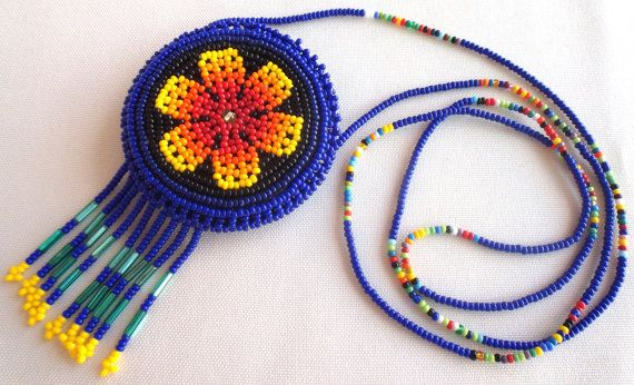 Mexican Huichol Beaded Flower Necklace Pouch by Aramara on Etsy