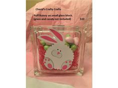 Easter Bunny 6X6 Glass Block