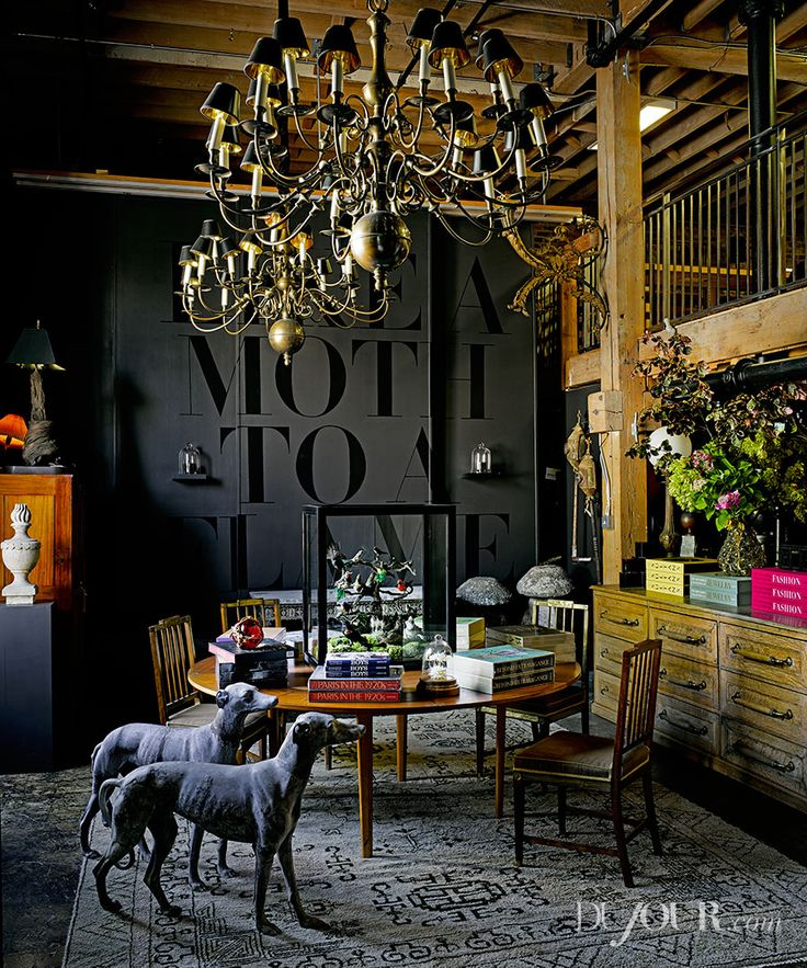 The Incredible Fulk - Du Jour Magazine Antique English chandeliers salvaged from a boarding school in New Hampshire; French chairs from the 1920s; vintage yacht dining table; vintage bird vitrine (on table); antique lead greyhound statues; antique Khotan rug.