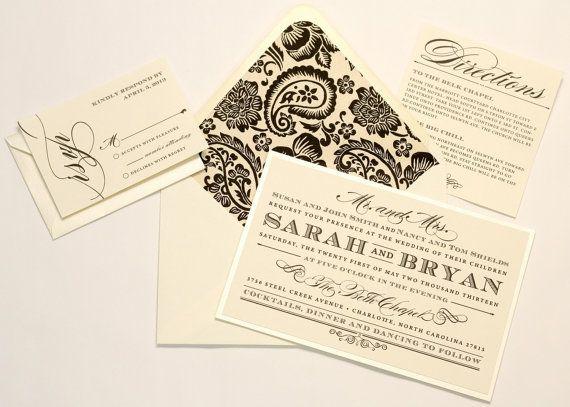 Formal Wedding Invitations by AMGDesignCo on Etsy