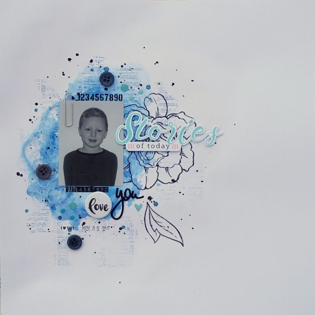 Sara Kronqvist - Saras pysselblogg: Stories of today   Scrapbook layout in blue and white
