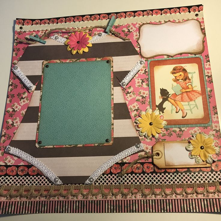 Classic Baby girl  premade 12 x 12  scrapbook page vintage style with custom onsie photo mat! by TheBohoRooster on Etsy https://www.etsy.com/listing/543190224/classic-baby-girl-premade-12-x-12