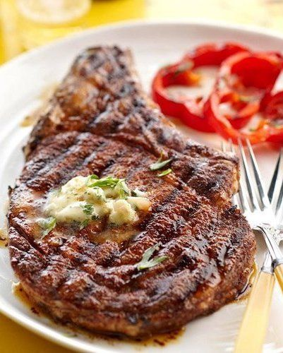Recipe for Cowboy Rib Eye Steak and Whiskey Butter --- To Decarb: replace sugar with sweetener.