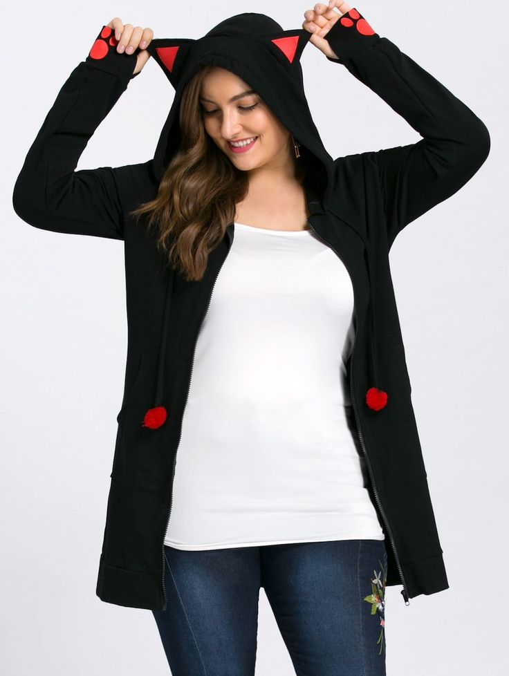Plus Size Zip Up Hoodie with Ears - BLACK 4XL